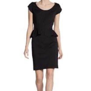 Rebecca Taylor Black Ponte Peplum Cap Sleeve Dress